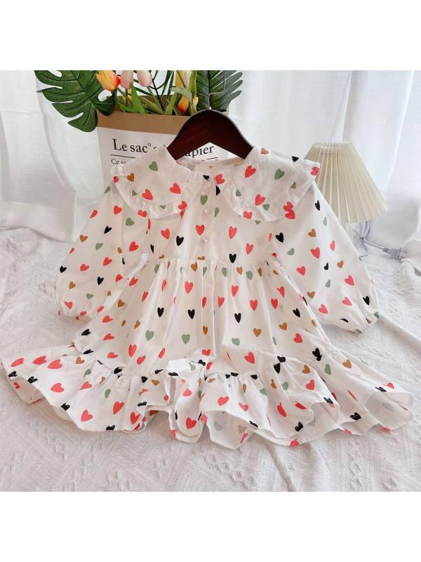 【12M-7Y】Girls Love Print Ruffled Collar Long Sleeve Dress