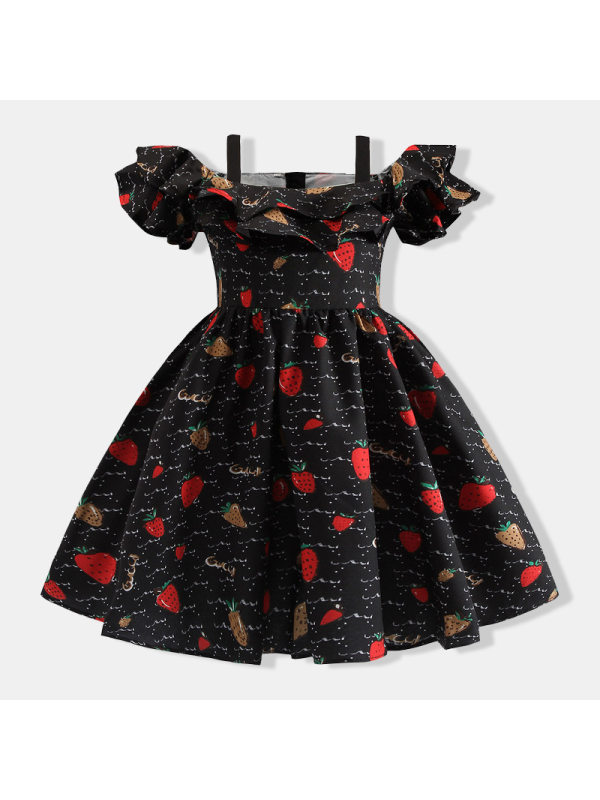 【18M-7Y】Girls Strawberry Print Princess Dress With Suspenders