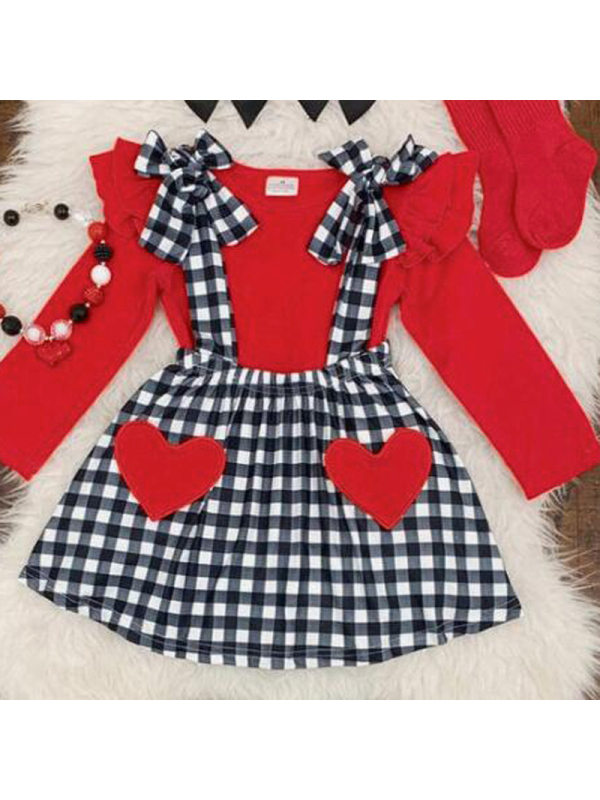 【12M-5Y】Girls Sweet Heart Shape Embroidered Plaid Set
