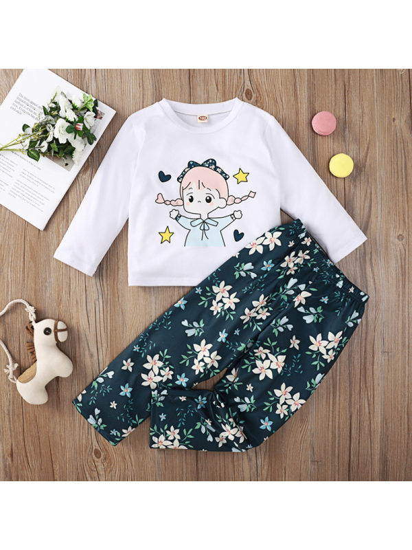 【18M-7Y】Girls Cartoon Print T-shirt Flower Print Trousers Suit