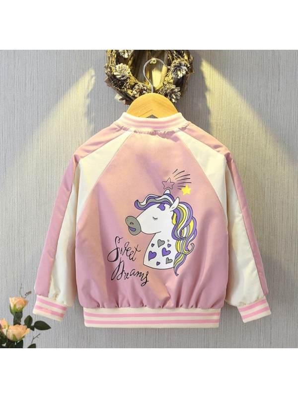【3Y-13Y】Girls Unicorn Print Stitching Baseball Uniform