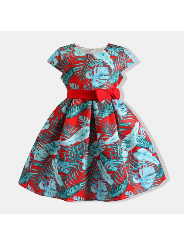 【18M-7Y】Girls Tropical Print Princess Belt Dress