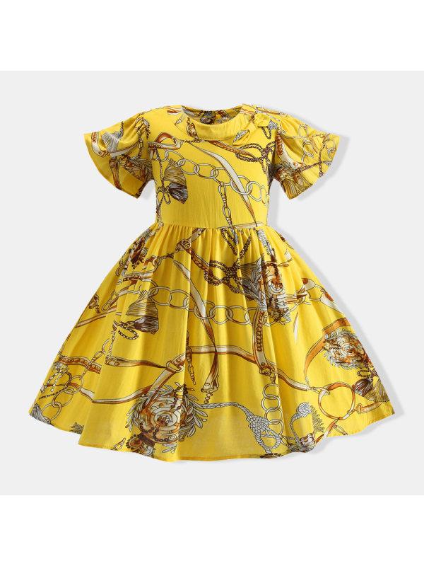 【18M-7Y】Girls Short-sleeved Waist Printed Princess Dress