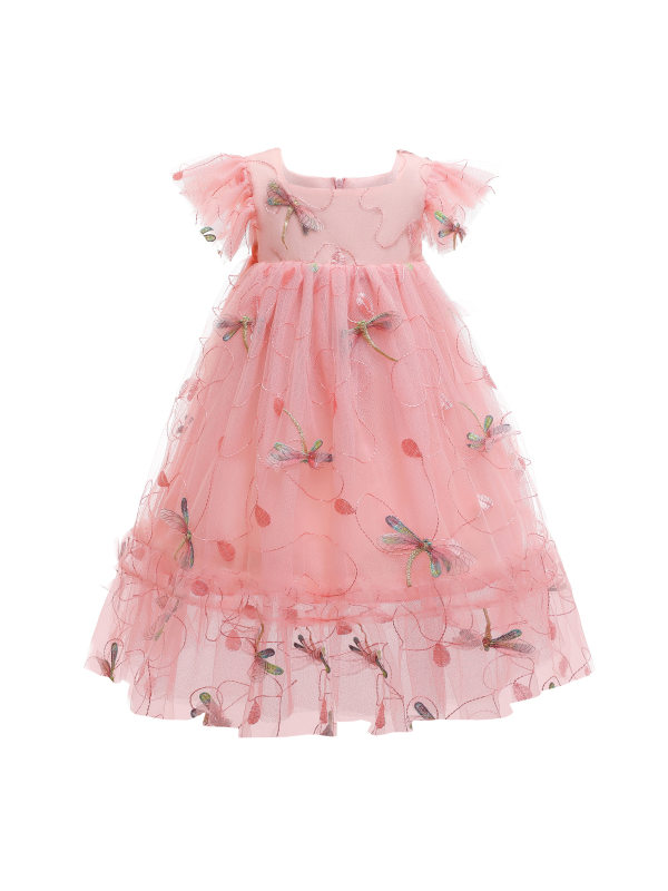【2Y-10Y】Girls Sweet Flower And Dragonfly Embroidered Mesh Princess Dress