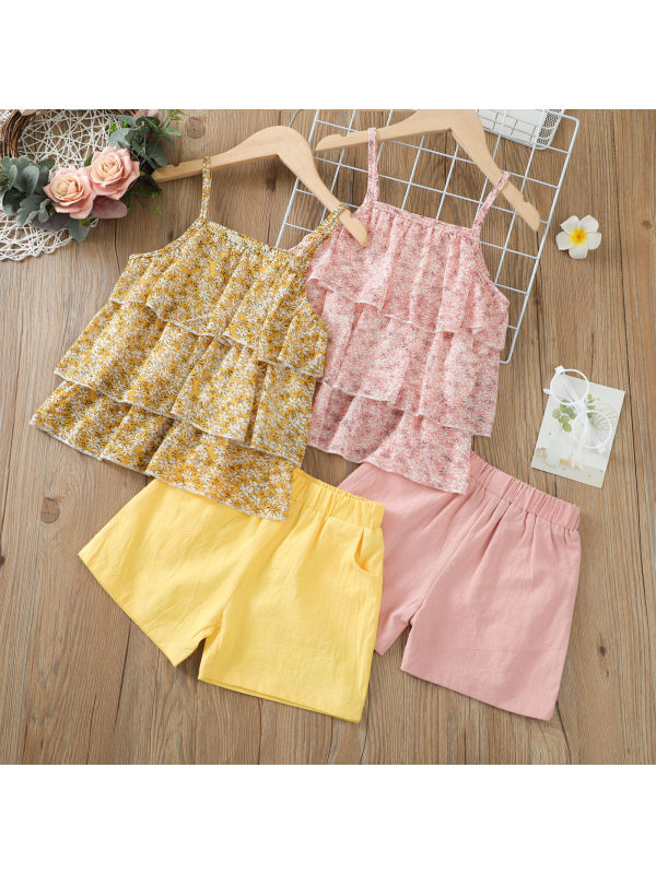 【18M-7Y】Girls Chiffon Round Neck Sling Pullover With Solid Color Shorts Two-piece Suit
