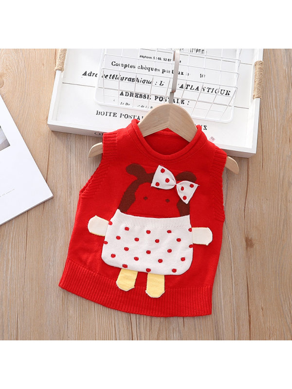 【12M-5Y】 Girl Cartoon Bear Knitted Vest Vest