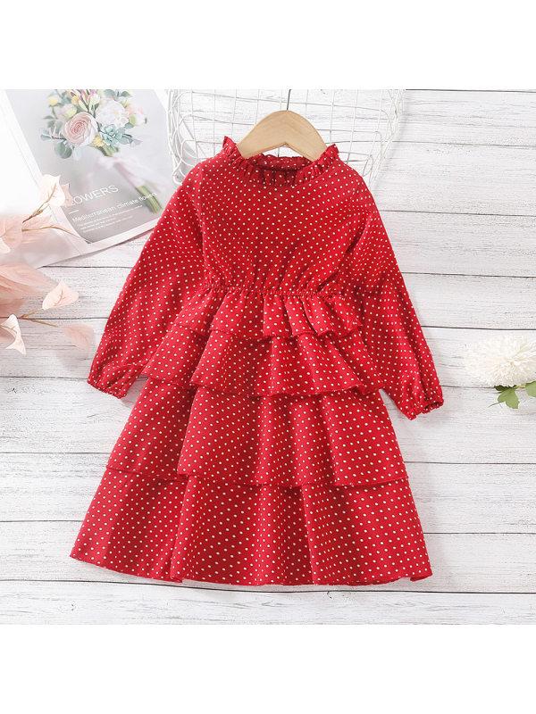 【18M-7Y】Girls Polka Dot Multi-layer Lace Long-sleeved Dress