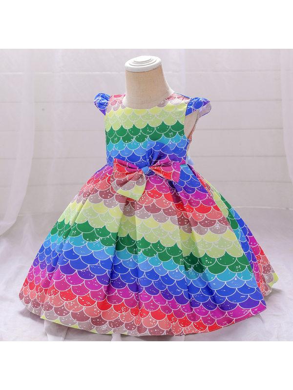 【6M-5Y】 Girl Flying Sleeve Colorful Princess Dress
