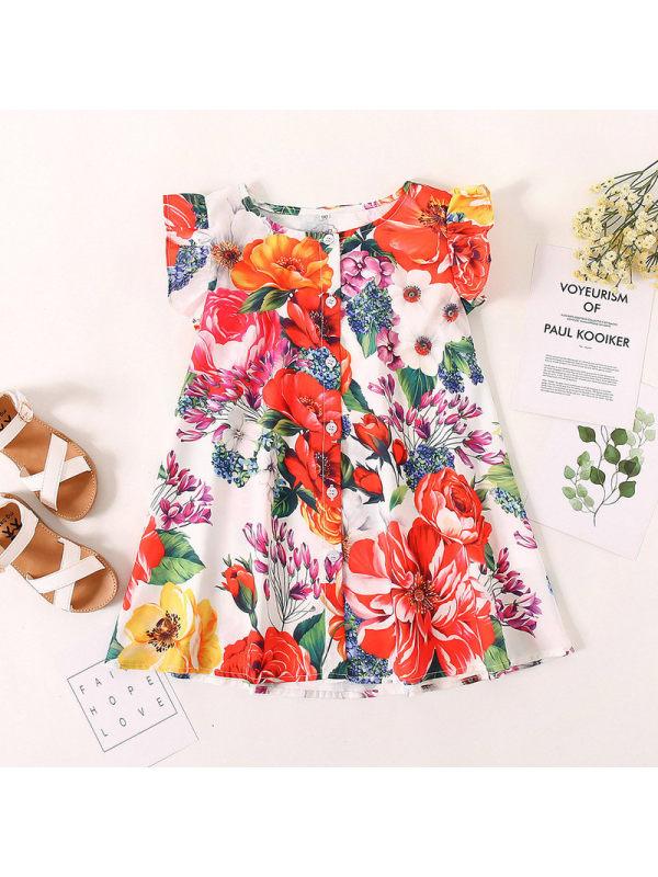 【18M-7Y】Girls Flower Printed Vest Flying Sleeve Dress