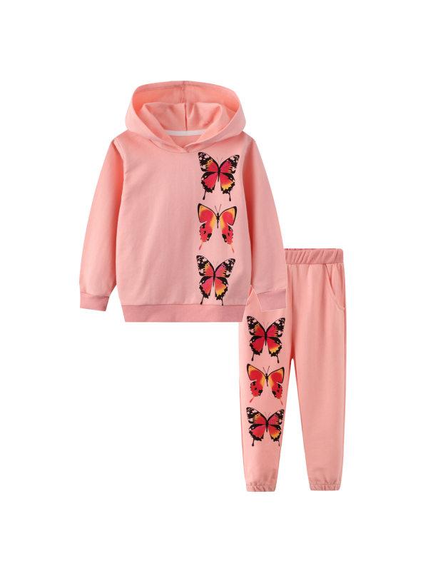 【18M-9Y】Girls Long-sleeved Hooded Sweatshirt and Trousers Suit