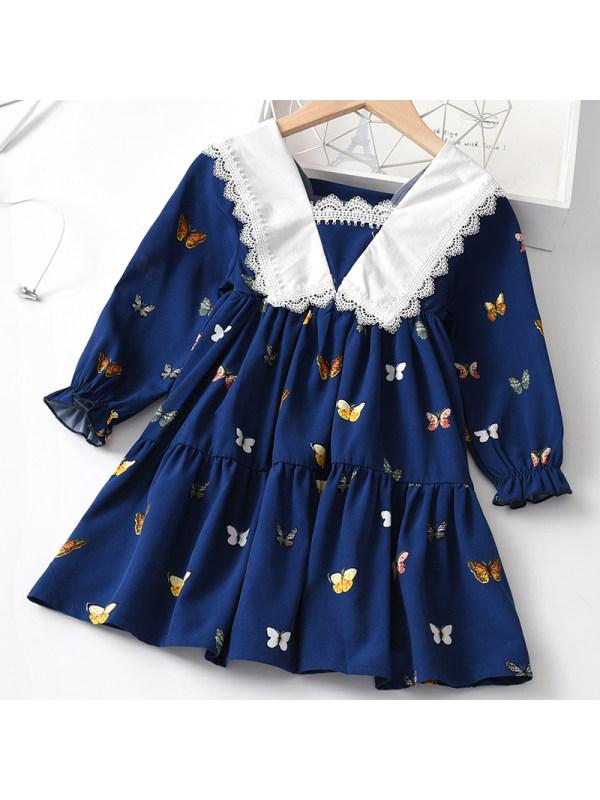 【18M-7Y】Girls Sweet Navy Blue Butterfly Pattern Long-sleeved Dress