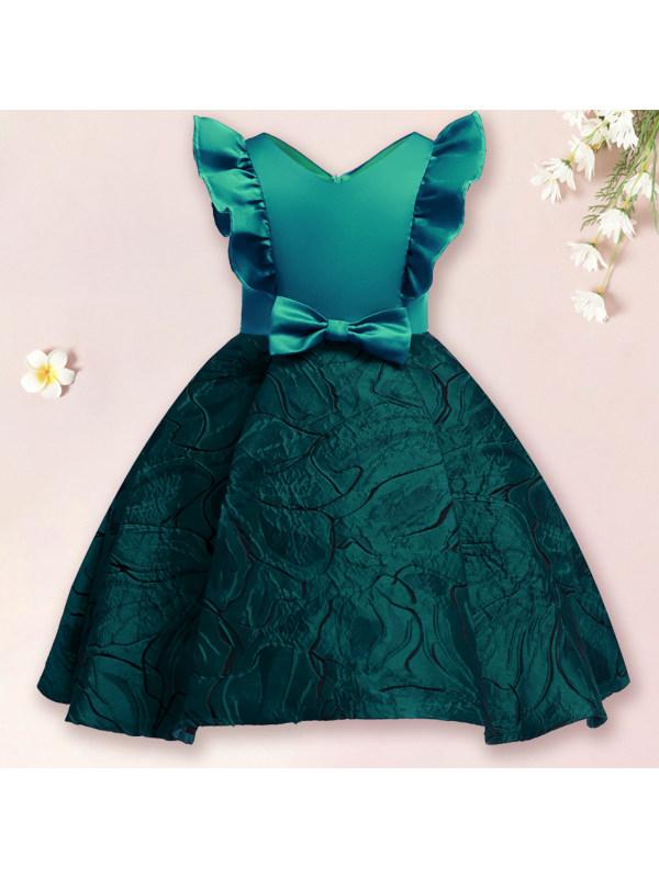 【2Y-11Y】Girls Sweet Bow Flying Sleeves Princess Dress
