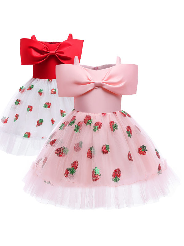 【3Y-10Y】Girls Sweet Bow Strawberry Sequin Embroidered Princess Dress