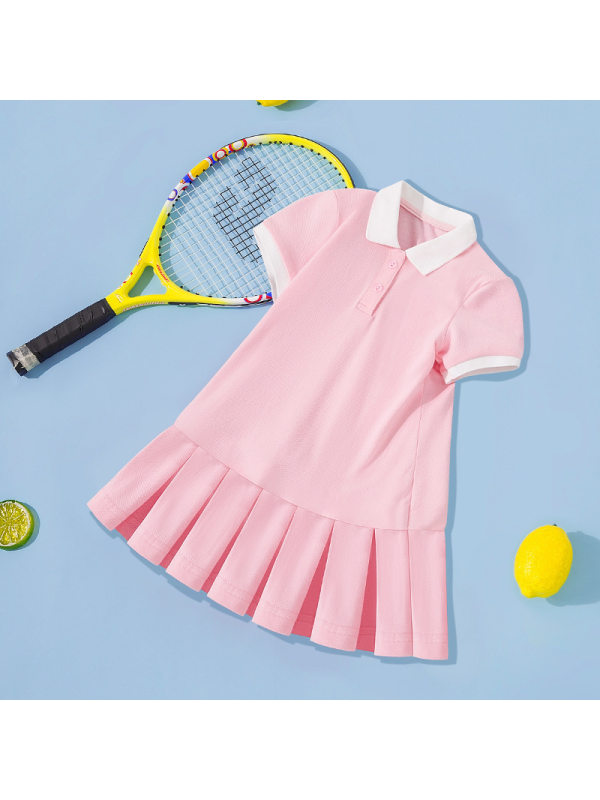 【2Y-11Y】Girls Casual Solid Color Short-sleeved Polo Pleated Dress