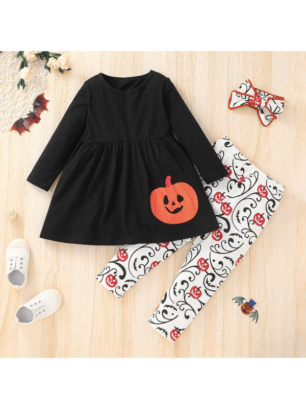 【18M-7Y】 Girls Halloween Round Neck Long Sleeve Top With Full Print Pumpkin Pants Three-piece Suit