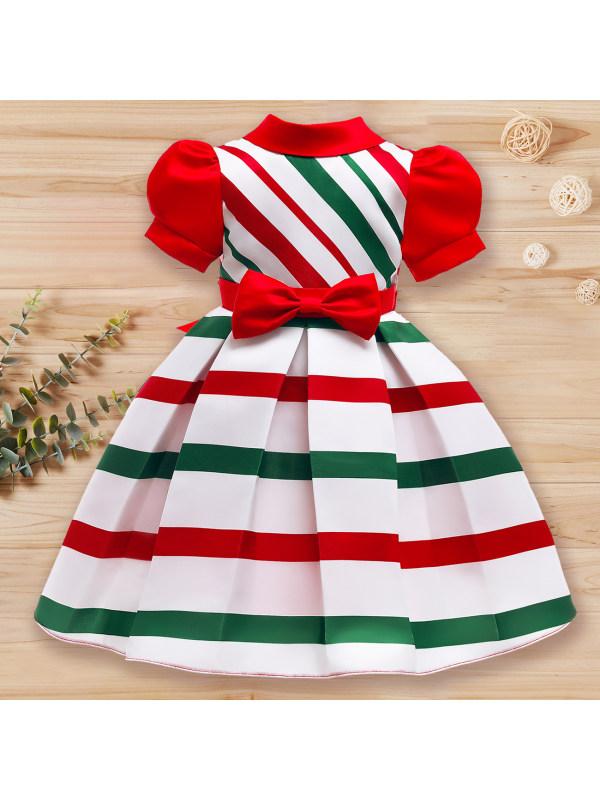 【2Y-10Y】Girls Sweet Striped Puff Sleeve Princess Dress