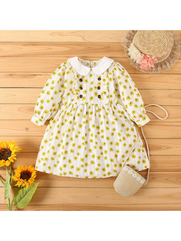 【2Y-9Y】Girl Doll Collar Long Sleeve Daisy Dress