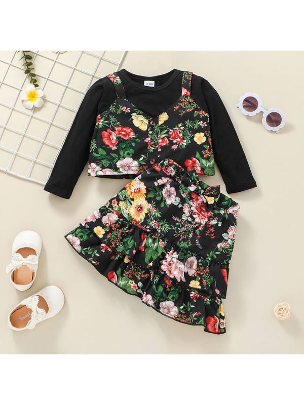 【18M-7Y】Girls Fake Two-piece Long-sleeved T-shirt Floral Print Skirt Suit