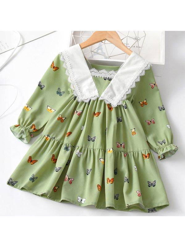 【18M-7Y】Girl Sweet Green Butterfly Pattern Long Sleeve Dress
