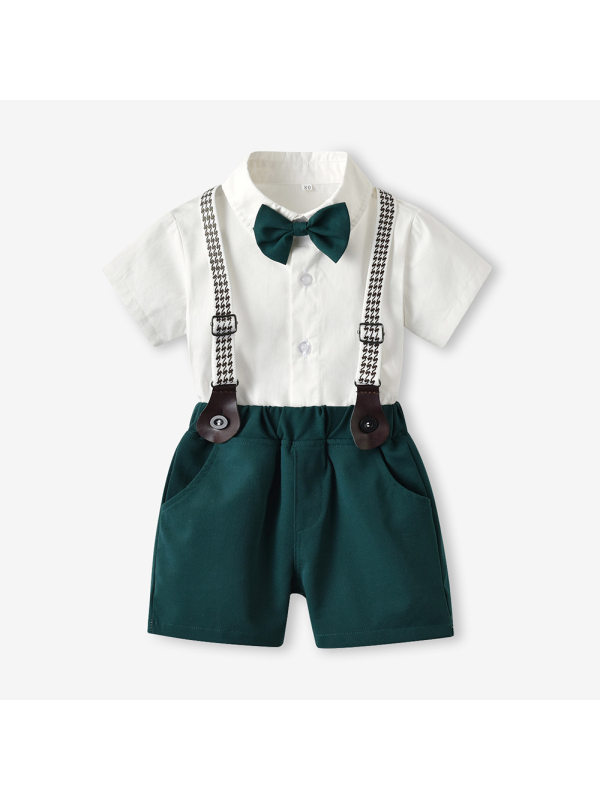 【6M-7Y】Boys Short-sleeved White Shirt Bib And Bow Tie Suit