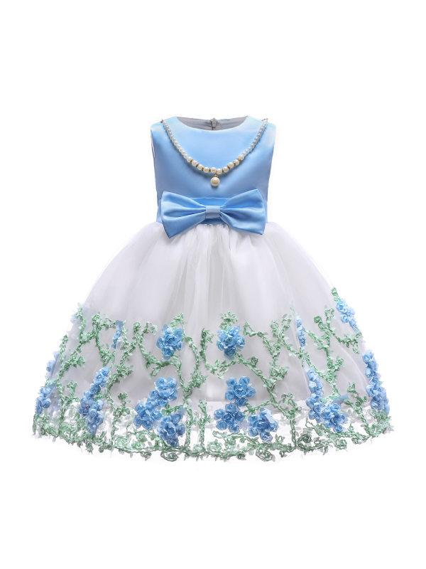 【2Y-11Y】Girls Sweet Flower Embroidered Mesh Princess Dress