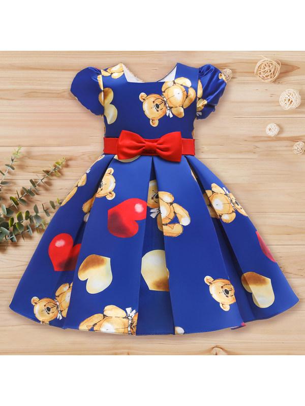 【2Y-11Y】 Girls Cute Bowknot Cartoon Print Puff Sleeve Princess Dress