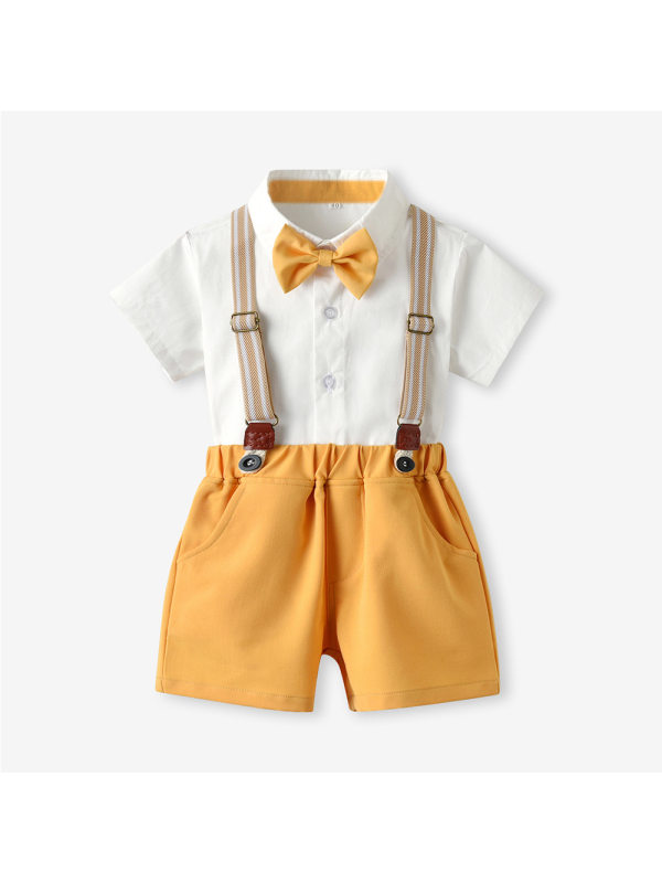 【6M-7Y】Boys Short-sleeved Shirt And Overalls