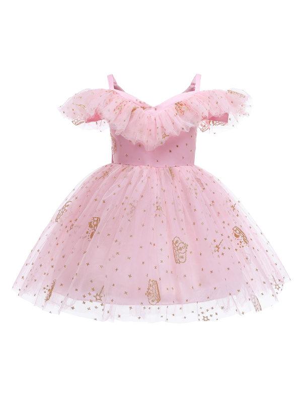 【3Y-10Y】Girls Sweet Golden Crown Print Pink Mesh Princess Dress
