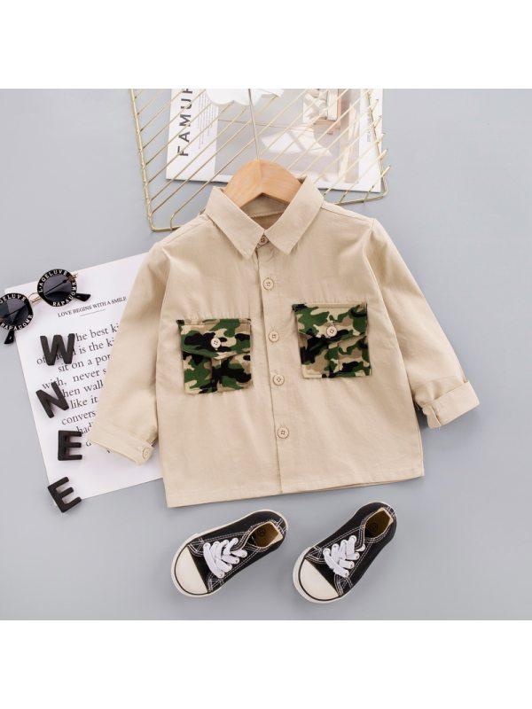 【12M-5Y】Boys Camouflage Decorative Pocket Long-sleeved Shirt