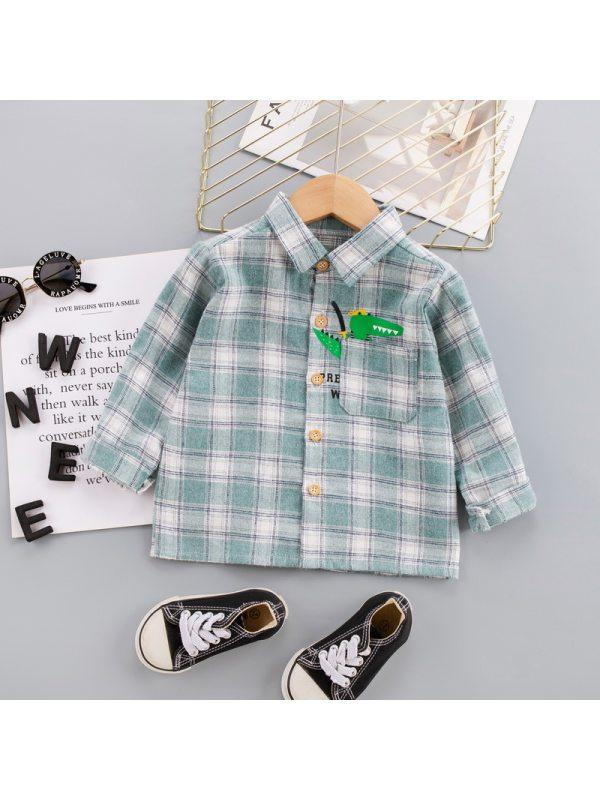 【12M-5Y】Boys Checkered Cartoon Print Long Sleeve Shirt