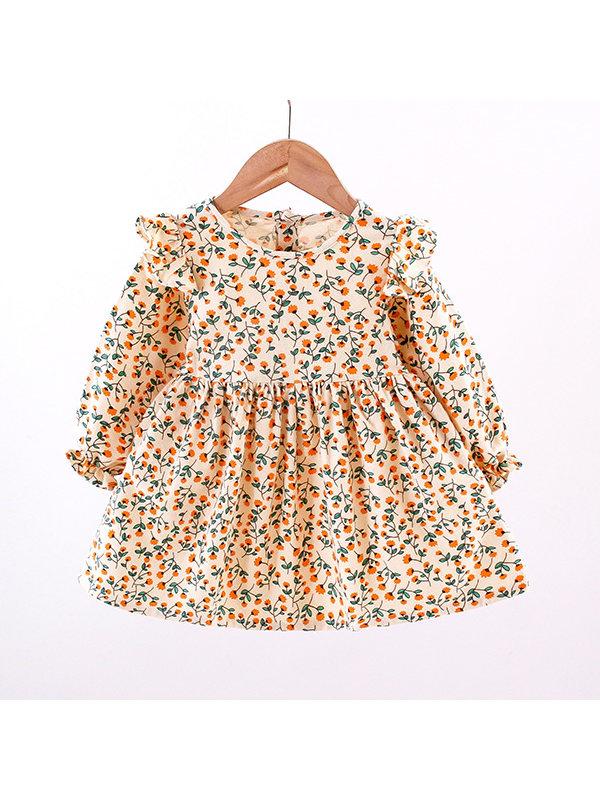 【12M-4Y】Girls Long-sleeved Floral Dress