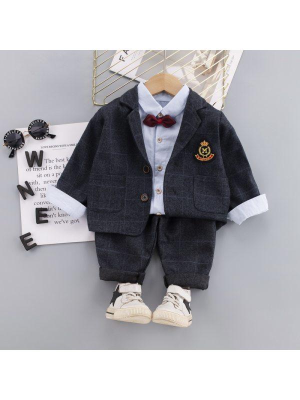 【12M-5Y】 Boy Checkered Three-piece Suit