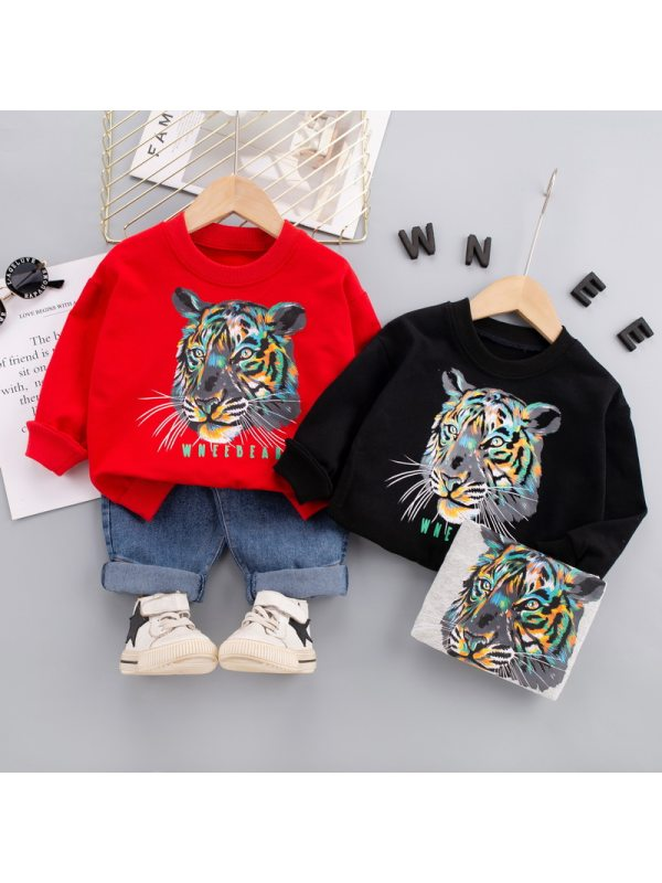 【12M-5Y】Boys Animal Print Long Sleeve Two-piece Suit