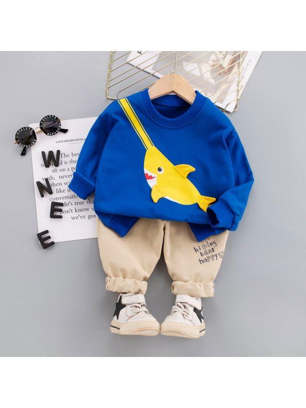 【12M-5Y】Boys Shark Print Long Sleeve Two-Piece Set