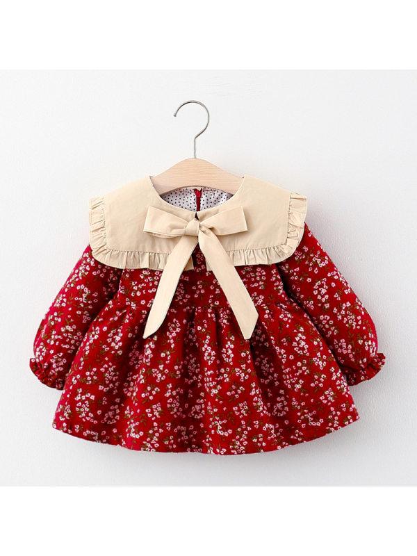 【12M-4Y】Girls Big Lapel Long Sleeve Printed Dress