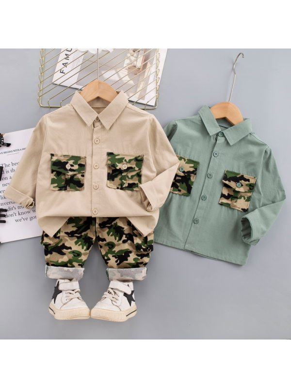 【12M-5Y】Boys Camouflage Stitching Long-sleeved Shirt And Trousers Two-piece Suit