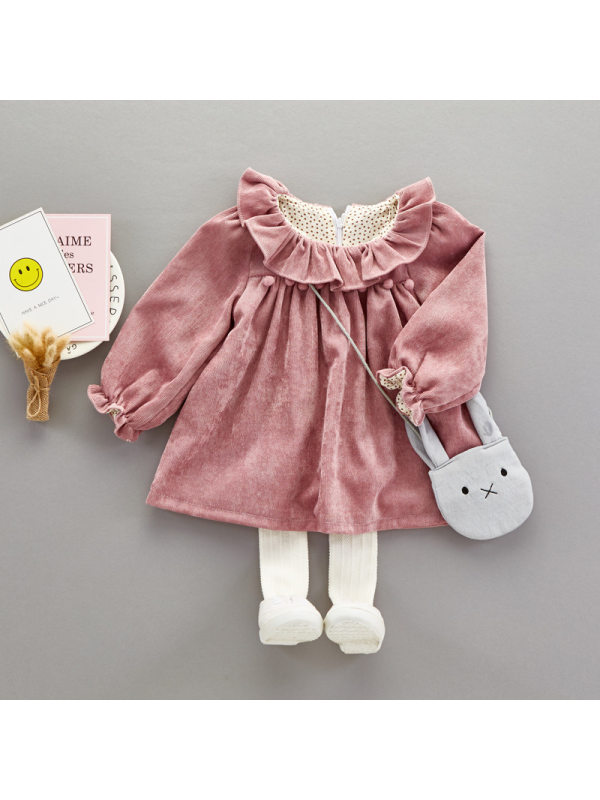 【12M-4Y】Girls Long Sleeve Dress With Bag