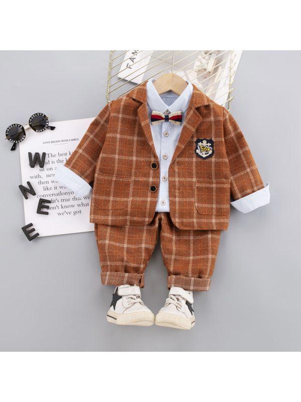 【12M-5Y】Boys Plaid Print Three-piece Suit