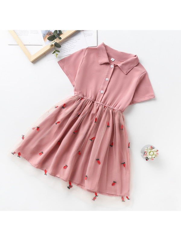 【3Y-13Y】Girl Short Sleeve Pineapple Embroidered Lapel Dress