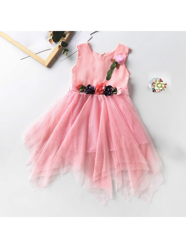 【3Y-13Y】Girl Round Neck Sleeveless Flower Irregular Dress