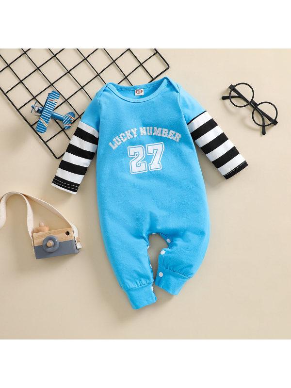【3M-24M】Baby Letter Print Striped Jumpsuit
