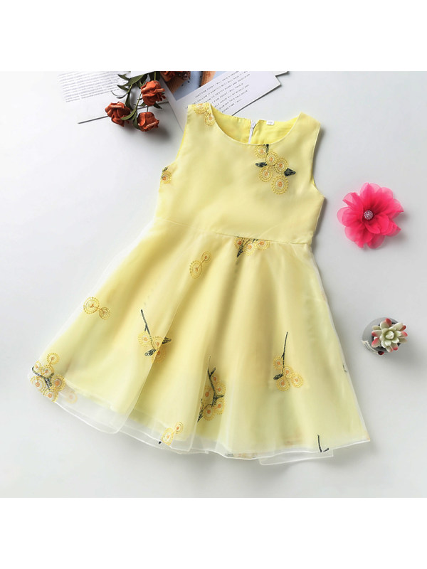【3Y-13Y】Girl Round Neck Sleeveless Flower Embroidered Dress