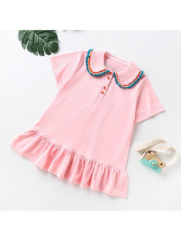 【3Y-13Y】Girls Ruffle Short Sleeve Polo Dress