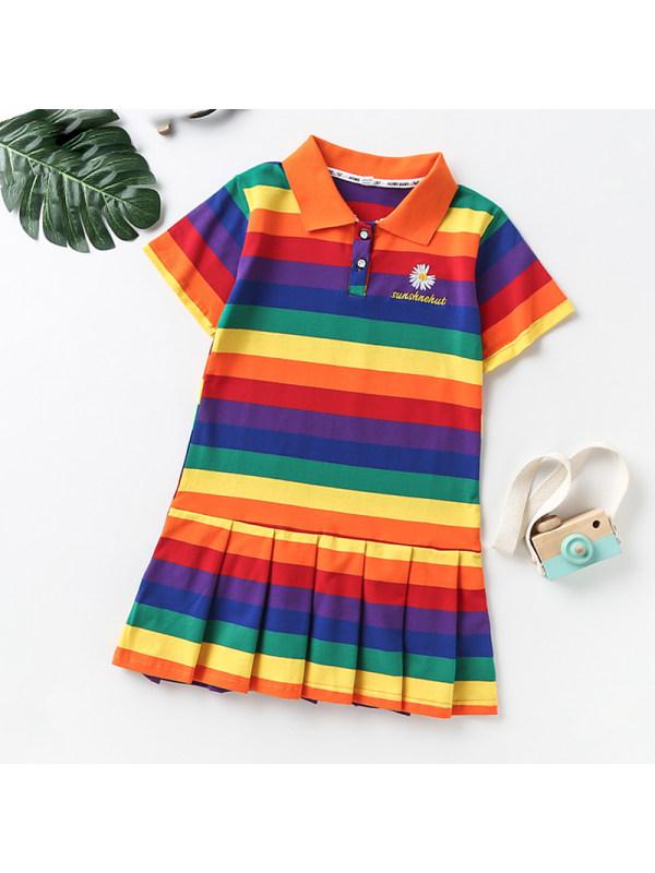 【18M-13Y】Girl Lapel Short Sleeve Rainbow Stripe Polo Dress