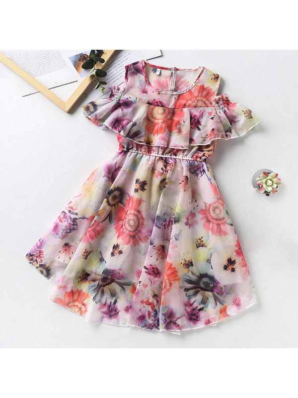 【3Y-13Y】Girl Round Neck Off Shoulder Flower Dress