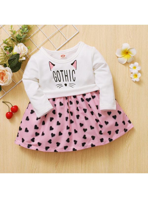 【6M-3Y】Girls Long Sleeve Cat Letter Print Love Dress