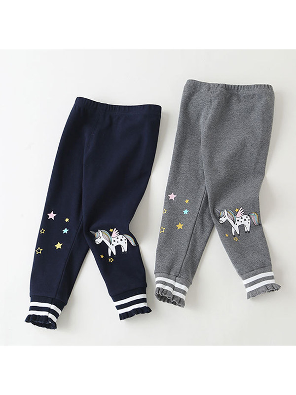 【12M-9Y】Girl Unicorn Print Ruffled Trousers