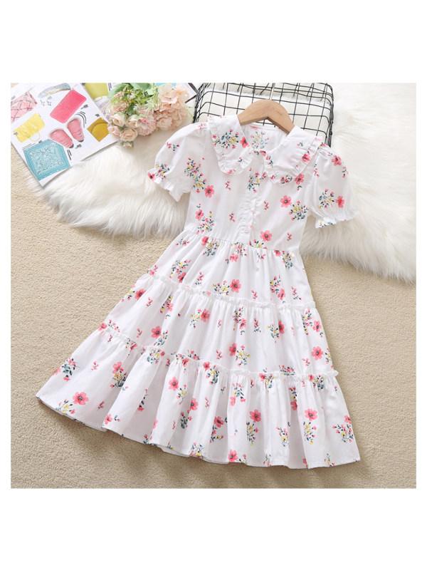 【3Y-13Y】Girl Sweet Floral Lapel  Short Sleeve Dress