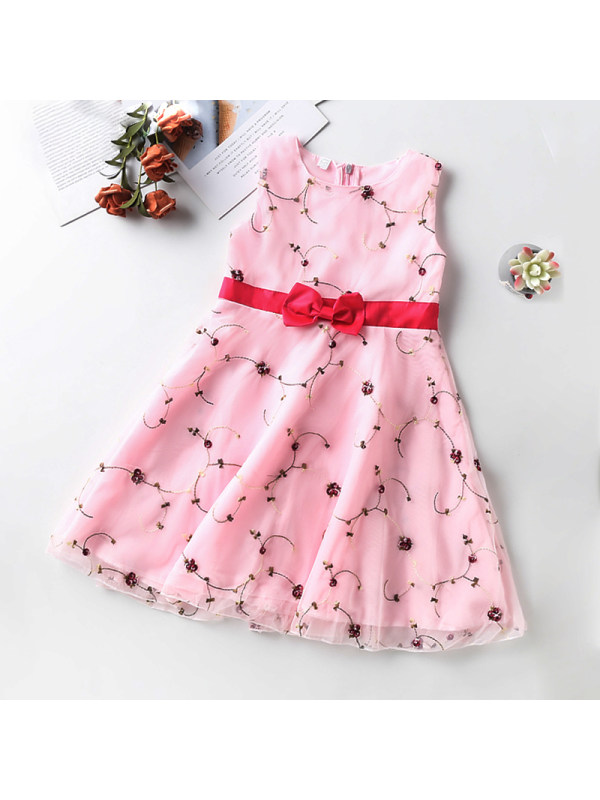 【3Y-13Y】Girls Round Neck Sleeveless Bow Embroidered Dress
