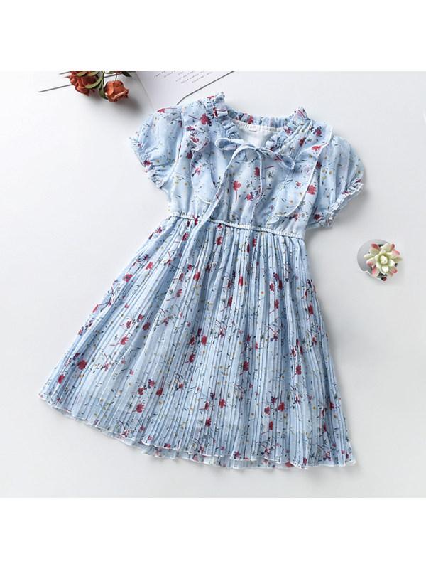 【3Y-13Y】Girls Round Neck Puff Sleeve Floral Dress
